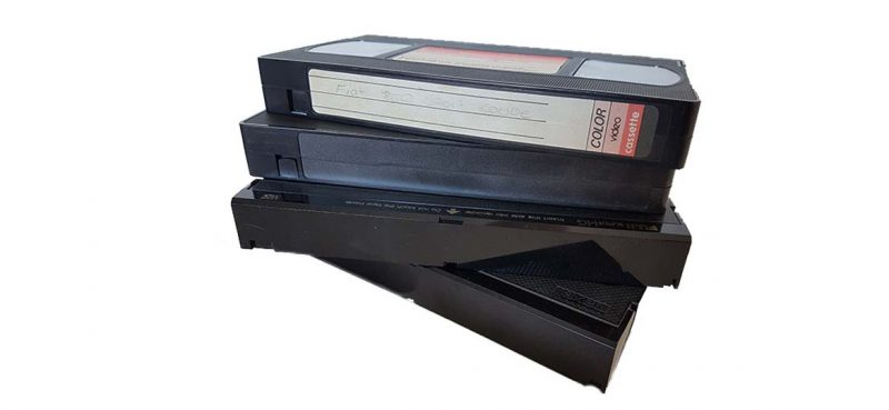 vhs video tape stack
